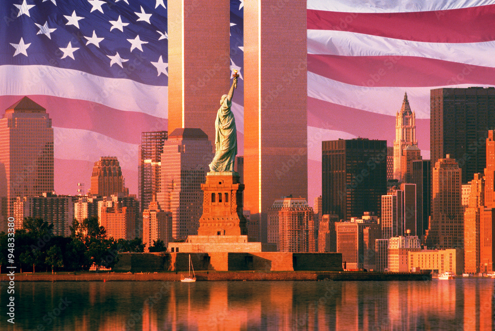 Fototapety, obrazy: Digital composite: New York skyline, American flag, World Trade Center, Statue of Liberty
