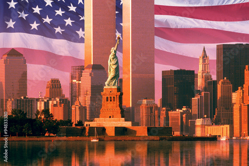 Photo  Digital composite: New York skyline, American flag, World Trade Center, Statue o