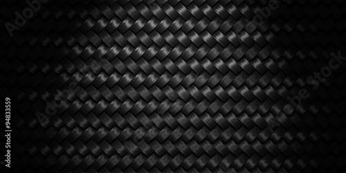 Fotografiet  Black Woven texture background