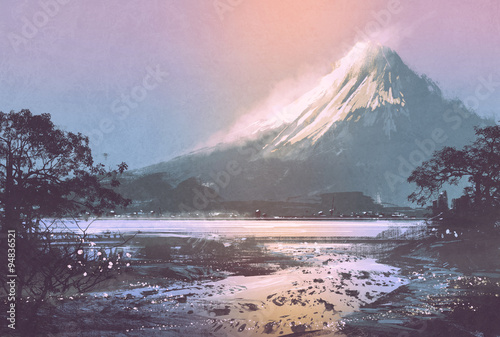 Poster Rose clair / pale winter landscape with mountain lake under evening sky,digital painting