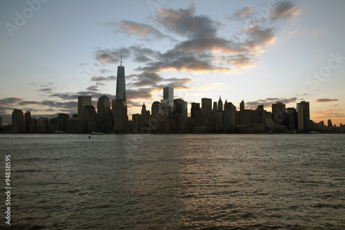 Foto op Aluminium New York Sunrise on One World Trade Center (1WTC), Freedom Tower, New York City skyline, New York City, New York, USA, 03.21.2014