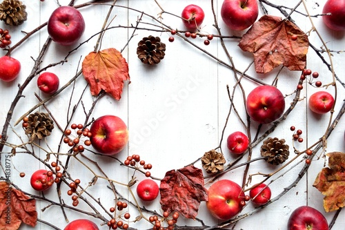 Cadres-photo bureau Cartoon voitures Red apples,pine cones and autumn leaves.frame