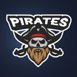 Pirate captain skull. Sport emblem.