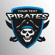 Skull pirates and swords. Sport emblem.
