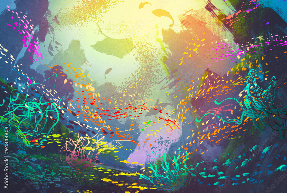 Fototapeta underwater with coral reef and colorful fish,illustration painting