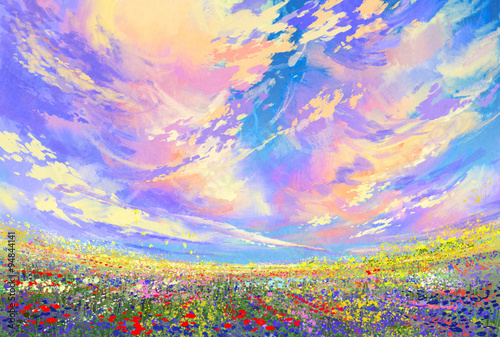 Poster Orange landscape painting,colorful flowers in field under beautiful clouds