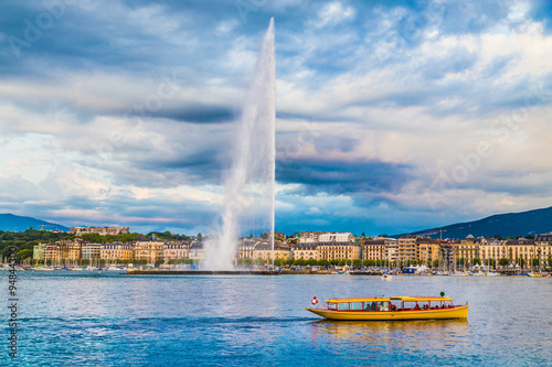 City of Geneva with famous Jet d'Eau fountain, Switzerland Wallpaper Mural