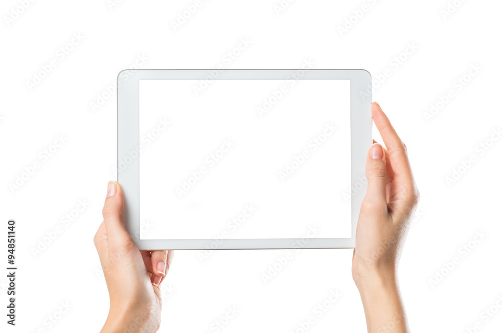 Fototapeta Hands holding digital tablet