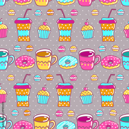 Poster Hibou Seamless pattern with cups and sweets