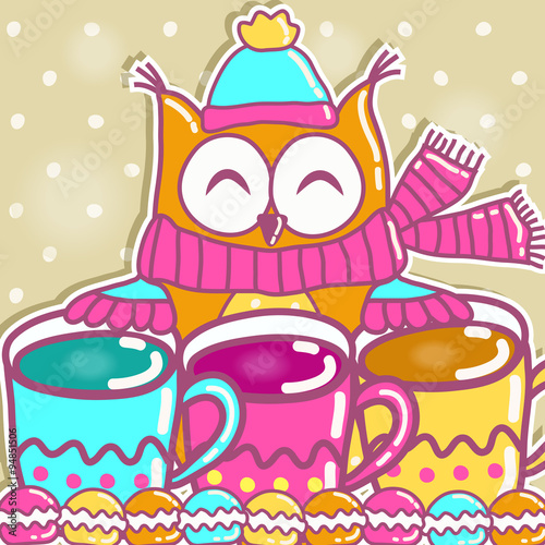Poster Hibou Sample cards with an owl, with cups and cakes
