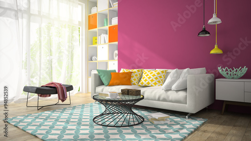 Interior of modern design room with purple wall 3D rendering 3 - Buy ...