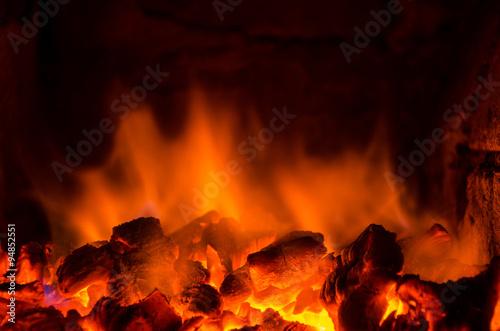 Fotobehang Vuur Hot coals in the fire