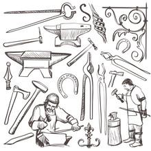Hand Drawn Sketch Blacksmith Set