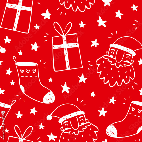 Cotton fabric Sketchy vector seamless pattern with Santa Claus, socks and gifts