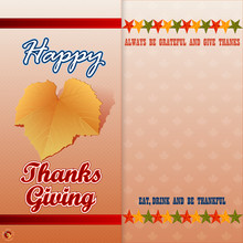 Holidays, Graphic Background, Happy Thanksgiving Message With Vine Leave And Stars In Autumn Color Tones On Maple Leaves Pattern, Backdrop For Thanksgiving Day