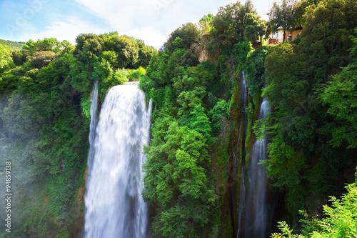 Küchenrückwand aus Glas mit Foto Wasserfalle Cascata Delle Marmore waterfalls in Terni, Umbria, Italy