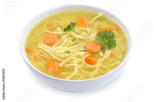Plakat Zupa z makaronem Rosół zupa w misce zupy wyciąć