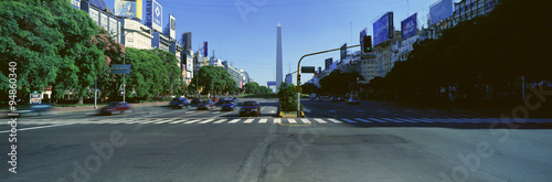 Garden Poster Buenos Aires Panoramic view of Avenida 9 de Julio, widest avenue in the world, and El Obelisco, The Obelisk, Buenos Aires, Argentina