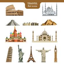 Travel Flat Vector Icons Set