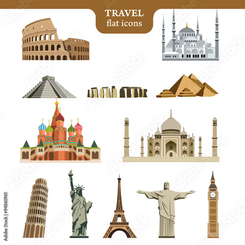 Foto  Travel flat vector icons set