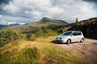 car on a road in the scottish highlands, Isle of Skye, Outer Hebrides, Great Britain, UK, Europe