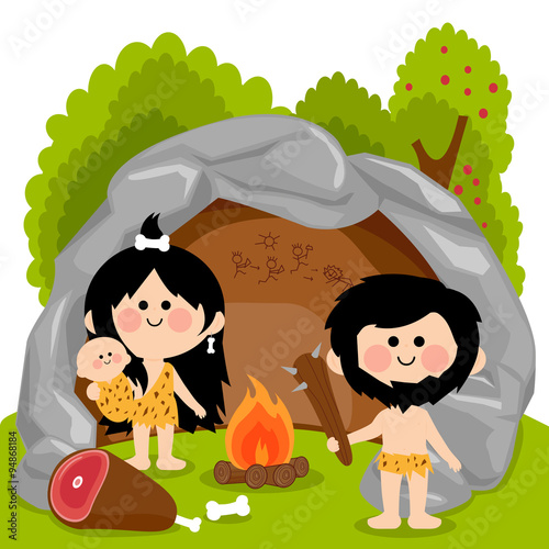 Cavemen family in stone cave Poster