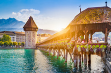 Historic Town Of Luzern With Chapel Bridge At Sunset, Switzerland