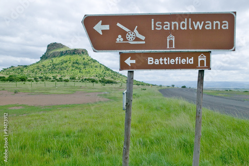 Sign for Isandlwana Battlefield, the scene of the Anglo Zulu battle site of January 22, 1879 Canvas Print