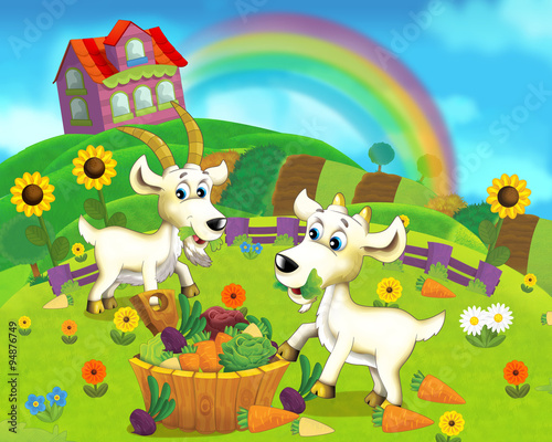 Fotobehang Boerderij The farm scene for kids - cartoon background - illustration for the children