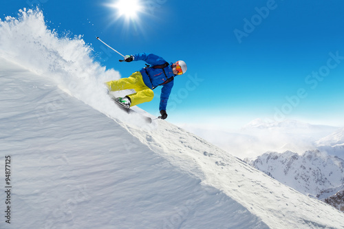 Garden Poster Winter sports Winter snowy landscape with free-rider