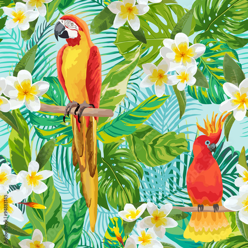 Fotobehang Papegaai Tropical Flowers and Birds Background - Vintage Seamless Pattern