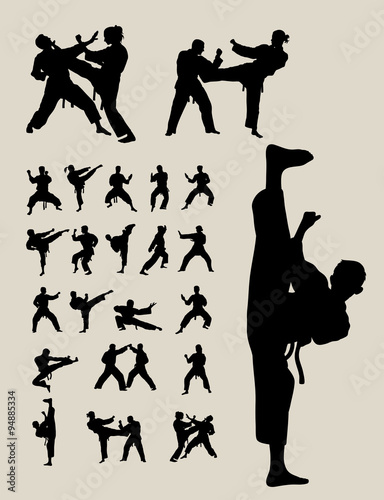 Obrazy Taekwondo   taekwondo-and-karate-silhouettes