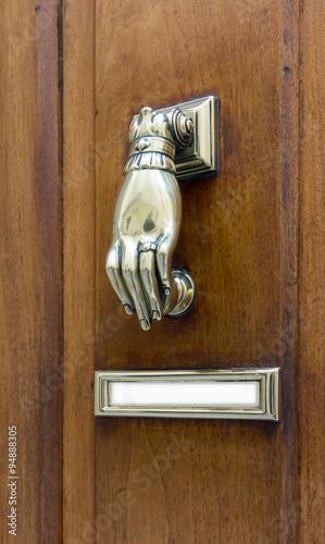 Vintage Hand Shaped Door Knocker With Blank Nameplate