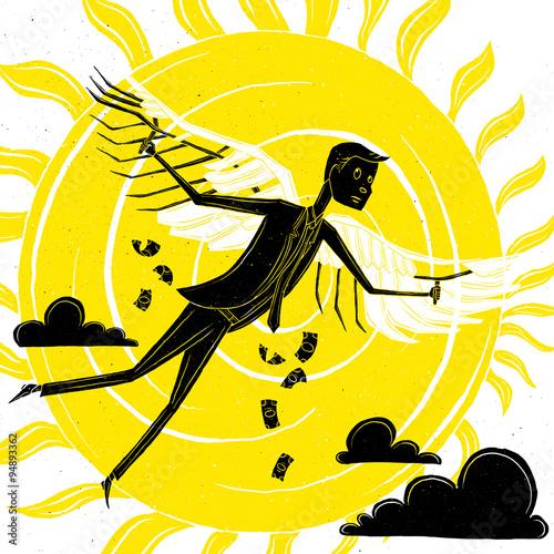 Businessman like Icarus Fototapet