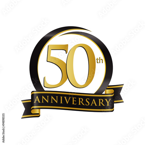 Fotografia  Anniversary Logo Black Gold 50