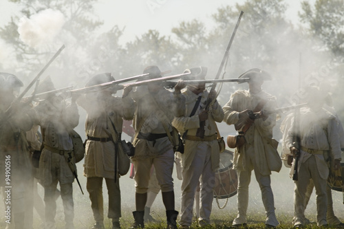 Billede på lærred Re-enactment of Attack on Redoubts 9 & 10 where the major infantry action of the siege of Yorktown took place