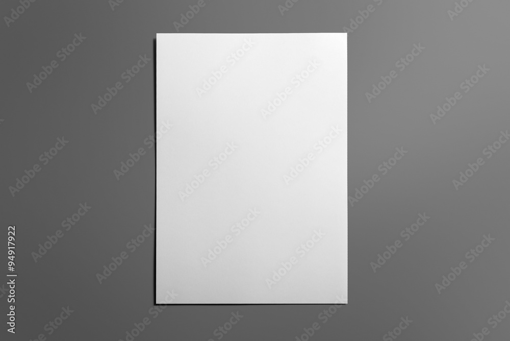 Fototapety, obrazy: Blank flyer poster isolated on grey to replace your design