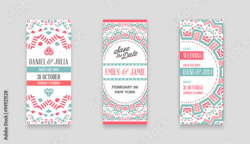 Set Of Vector Design Awesome Wedding Invitation Template With Mandala Or Doodles Theme Ideal For