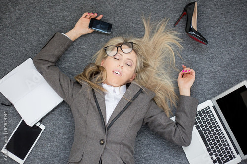 Overworked business woman