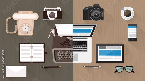 Desktop and devices evolution Fotobehang