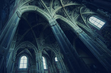 Sun Rays Beaming Through The Old Window Of Latin Cathedral