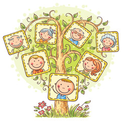 Fototapeta Do gabinetu lekarskiego/szpitala Family tree in pictures, little child with his parents and grandparents
