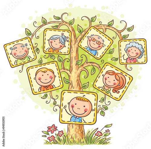 Family tree in pictures, little child with his parents and grandparents - 94930951