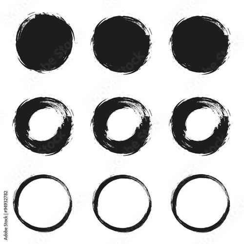Fotografie, Obraz  Set grunge circle brush on a white background