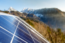 Photovoltaic Solar Panels In Mountainous Natural Area