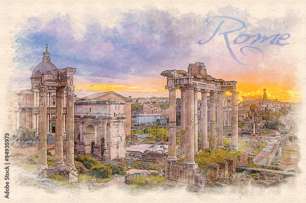 Watercolor painting effect illustration of a dawn over the Roman forum