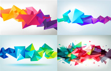 Vector Set Of Faceted 3d Cryst...
