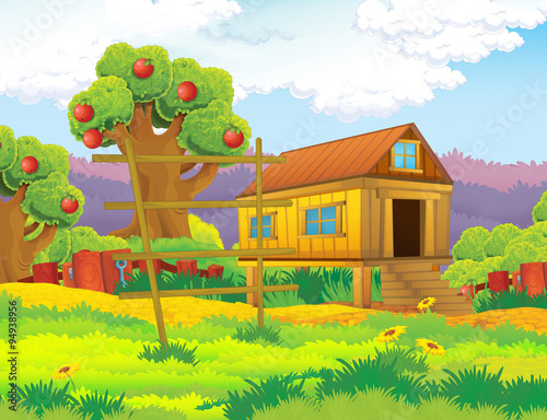 plakat Cartoon farm scene with apple trees - illustration for the children