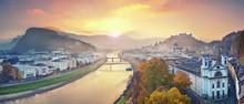 Salzburg, Austria. Panoramic Image Of The Salzburg During Autumn Sunrise.