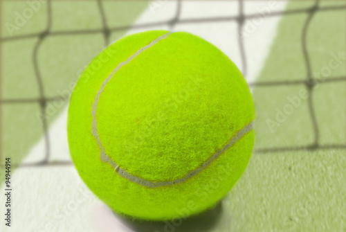 Tennis Ball Placed On White Border Line Inside Of Tenis Court Buy